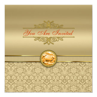 Faux Orange Topaz Gemstone Metallic Gold Damask Card