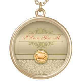 Faux Orange Topaz Gemstone Metallic Gold Damask Round Pendant Necklace
