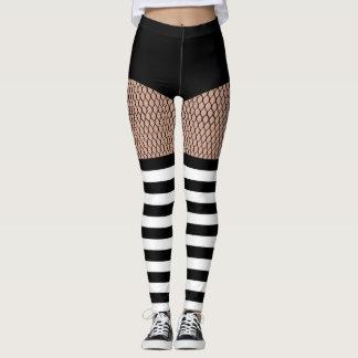 Faux OTK BW Striped Socks Fishnet Leggings