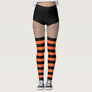 Faux OTK Orange Striped Socks Fishnet Leggings