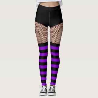 Faux OTK Purple Striped Socks Fishnet Leggings