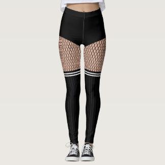 Faux OTK Striped Socks Fishnets Leggings