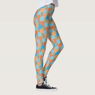 Faux Patchwork Checks, Floral, Stripes, Polka Dots Leggings