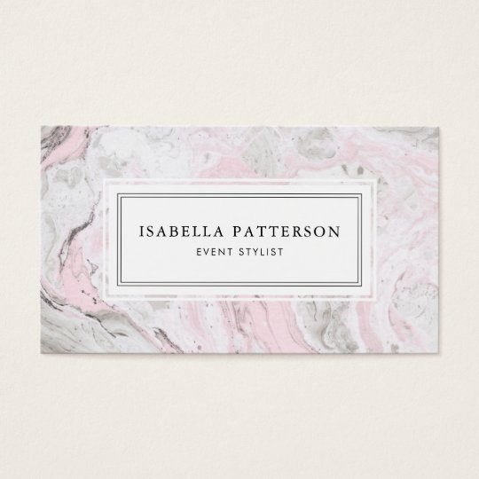 Faux Pink and Grey Marble Modern Business Card