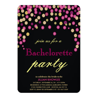 Faux Pink Confetti Bachelorette Party 2 Card