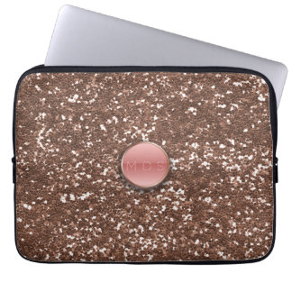 Faux Pink Glass 3D Monogram Rose Gold Glitter Tech Laptop Computer Sleeve