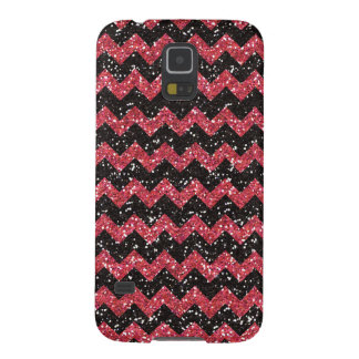 Faux Pink Glitter Chevron Pattern Black Glitter Galaxy S5 Case