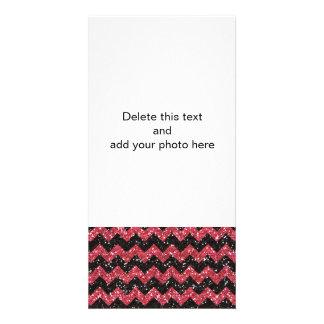 Faux Pink Glitter Chevron Pattern Black Glitter Personalized Photo Card