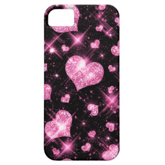 Faux Pink Glitter Hearts iPhone 5 Case