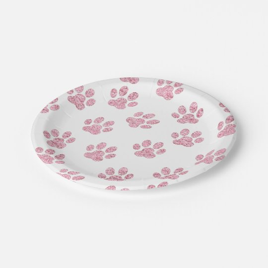 faux pink glitter pet paws pattern paper plate
