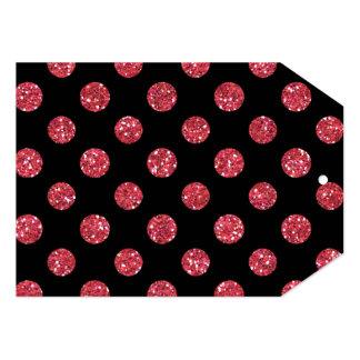 """Faux Pink Glitter Polka Dots Pattern on Black 5"""" X 7"""" Invitation Card"""