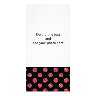 Faux Pink Glitter Polka Dots Pattern on Black Personalized Photo Card
