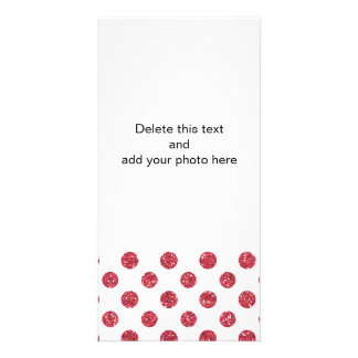 Faux Pink Glitter Polka Dots Pattern on White Photo Card Template