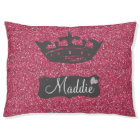 Faux Pink Glitter Sparkles with Crown Pet Bed