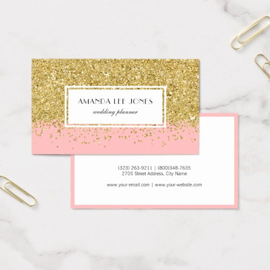 Faux Pink & Gold Glitter Ombre Business Card