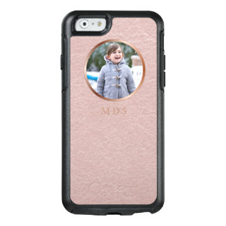 Faux Pink Leather Rose Gold Frame Photo Upload OtterBox iPhone 6/6s Case