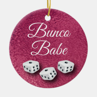 Faux Pink Metal Chic and Elegant Bunco Dice Christmas Ornament