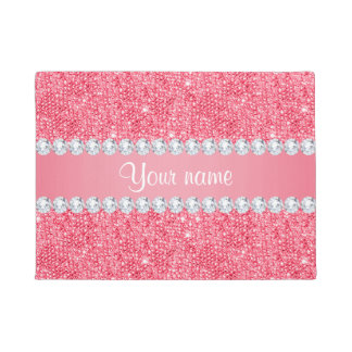 Faux Pink Sequins and Diamonds Doormat