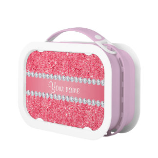 Faux Pink Sequins and Diamonds Lunch Box