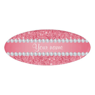 Faux Pink Sequins and Diamonds Name Tag