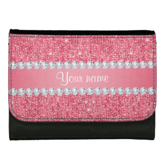 Faux Pink Sequins and Diamonds Wallet
