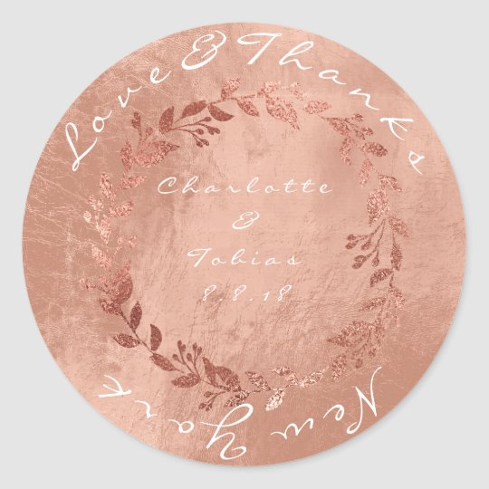 Faux Pink Wedding Thanks Metallic Copper Gold Classic