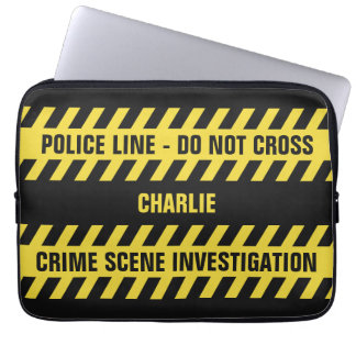 Faux Police Line custom text laptop sleeves