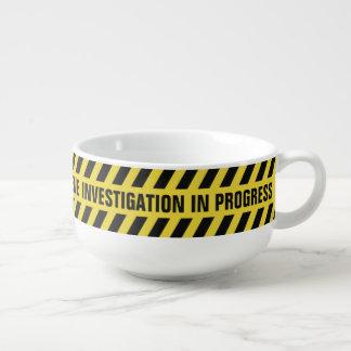 Faux Police Line custom text soup mug