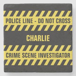 Faux Police Line custom text stone coaster