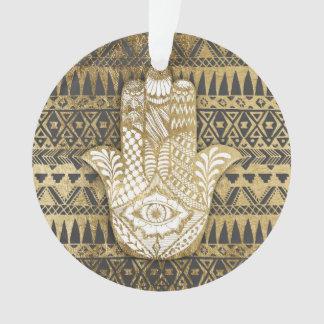 Faux Print Gold Hamsa Hand and Tribal Aztec Ornament