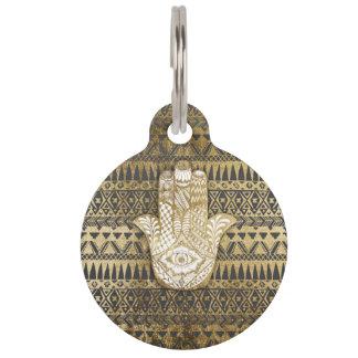 Faux Print Gold Hamsa Hand and Tribal Aztec Pet ID Tag