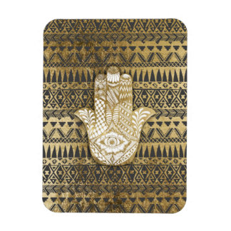 Faux Print Gold Hamsa Hand and Tribal Aztec Rectangular Photo Magnet