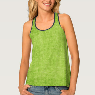Faux  Printed Solid Green Textured Background Tank Top