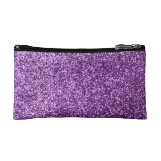 Faux Purple Glitter Cosmetic Bag
