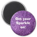 Faux Purple Glitter Fridge Magnet