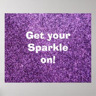 Faux Purple Glitter Posters