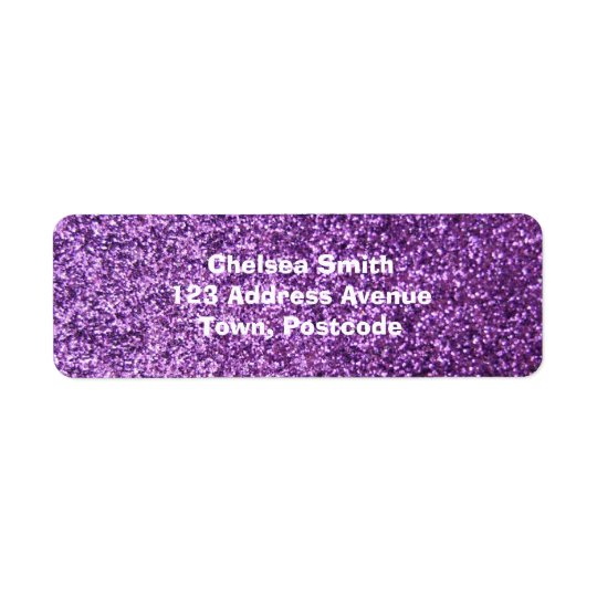 Faux Purple Glitter Return Address Label
