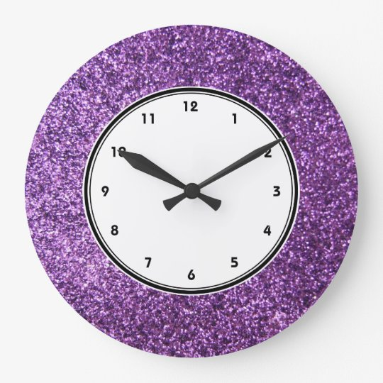 Faux Purple Glitter Wall Clock Zazzle Co Uk
