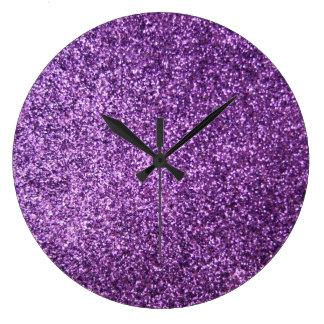 Faux Purple Glitter Wall Clocks