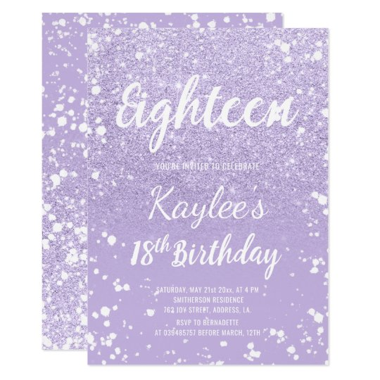 Faux purple lavender confetti 18th Birthday Card