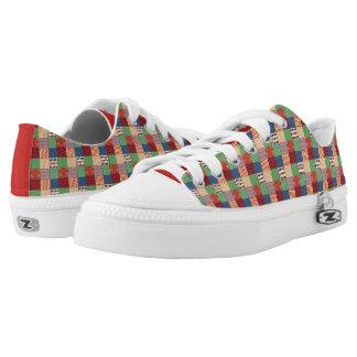 Faux Quilt Print Low Top Shoes