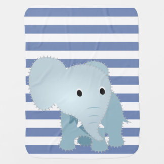 Faux Quilted Blue Elephant on Blue Stripes Baby Blanket