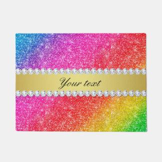 Faux Rainbow Glitter Diamonds Personalized Doormat