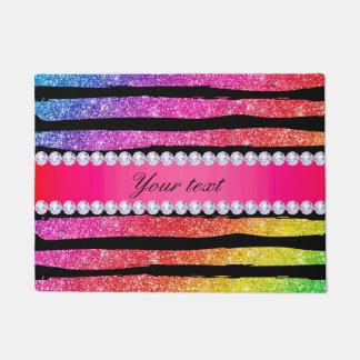 Faux Rainbow Neon Glitter Stripes Diamonds Black Doormat