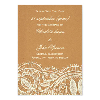 FAUX Recycle Paper, Ivory Lace save the Date 13 Cm X 18 Cm Invitation Card