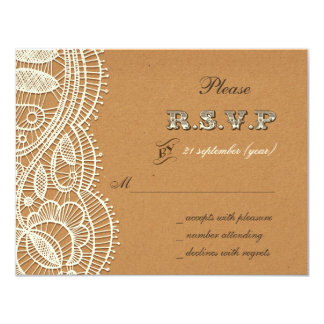 FAUX  recycle paper, ivory lace wedding rsvp 11 Cm X 14 Cm Invitation Card