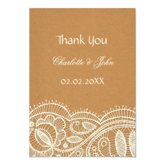 Faux Recycle Paper, Ivory Lace wedding Thank You 13 Cm X 18 Cm Invitation Card