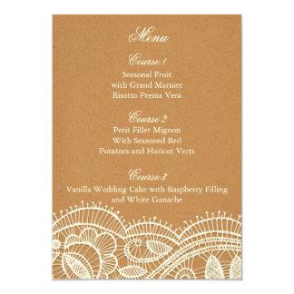 Faux Recycle Paper, lace rustic wedding menu cards 13 Cm X 18 Cm Invitation Card