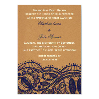 FAUX recycle paper, navy blue lace invites
