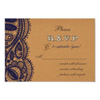 FAUX  recycle paper, navy blue lace  rsvp 3.5 x 5 9 Cm X 13 Cm Invitation Card